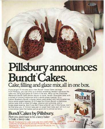 Advertisement for Pillsbury's Bundt cake mix, ca. 1966. Used with the permission of General Mills, Inc.
