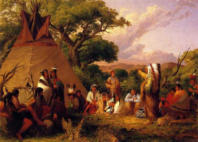 Oil on canvas painting of Dakota Indians in council, 1852. Painting by Seth Eastman