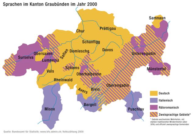 Map of languages spoken in Graubunden, Switzerland