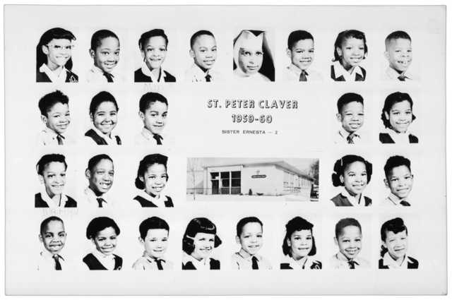 photograph featuring class pictures of the students and teacher of St. Peter Claver's second grade class