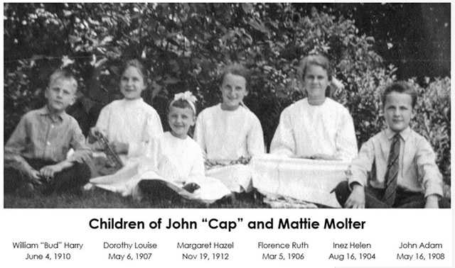 "Black and white photograph of the children of John ""Cap"" and Mattie Molter (left to right): William ""Bud"" Harry, Dorothy Louise, Margaret Hazel, Florence Ruth, Inez Helen, and John Adam. Photograph ca. 1915."