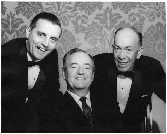 Photograph of Walter Mondale and Karl Rolvaag with Hubert Humphrey