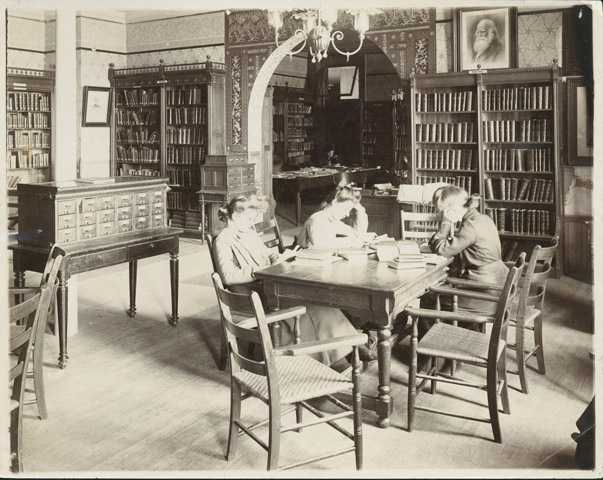 Students in library, Mankato Normal School
