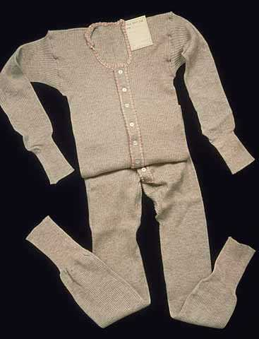 a photograph of a union suit made by Munsingwear