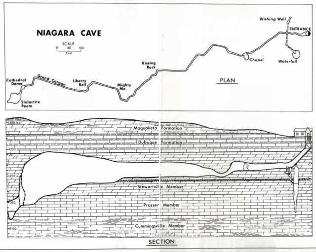 Map of Niagara Cave system