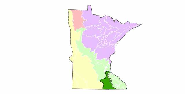 Map showing the extent of the oak savanna ecosystem in Minnesota.