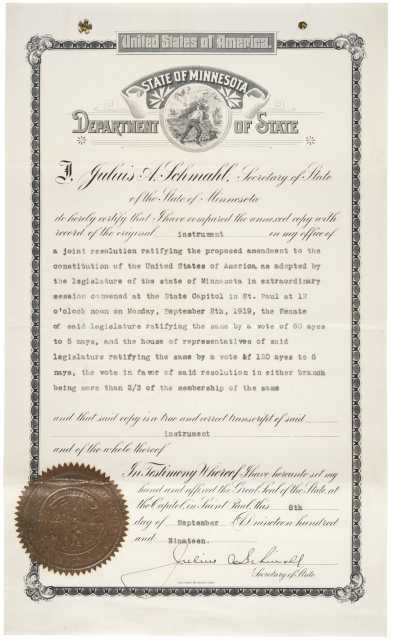 Minnesota's Ratification of the 19th Amendment, September 8, 1919. Committee Papers, 1919–1920; Records of the US House of Representatives, Record Group 233; National Archives Building, Washington, DC. Public domain.