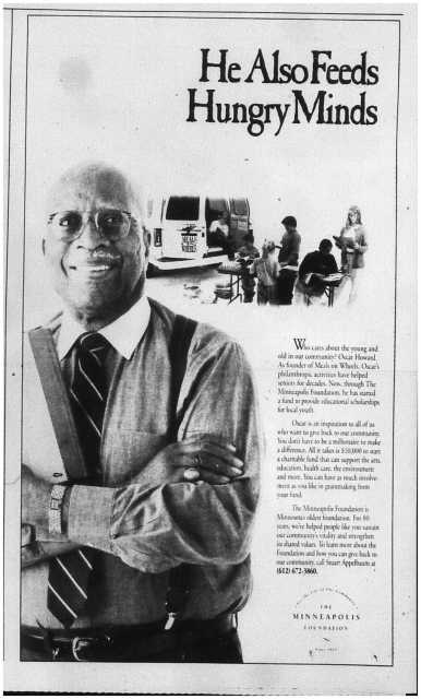 Advertisement for the Minneapolis Foundation featuring Oscar Howard. Published in the Minneapolis Star Tribune, page E3, November 8, 1995.