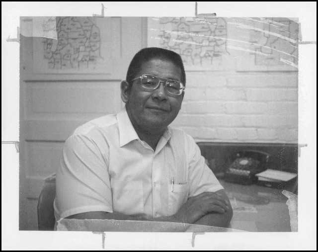 Duane Dunkley, director of Indian education for Minneapolis Public Schools, 1975. Dunkley wrote a grant proposal for the American Indian Cultural Center.
