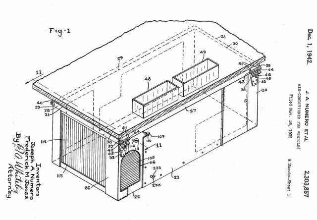 Black and white dagram of the Thermo King Model A included in Frederick M. Jones' 1939 patent application to the U.S. Patent and Trademark Office.