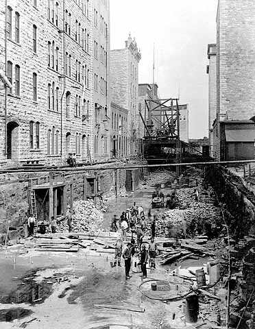 West side canal at St. Anthony Falls during construction, Minneapolis