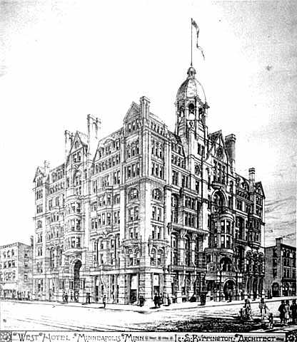 West Hotel, proposed drawing, Fifth and Hennepin, Minneapolis