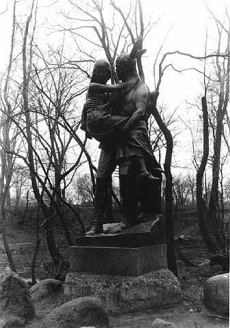 Hiawatha statue and tablet, Minnehaha Park, Minneapolis