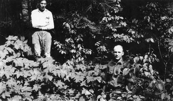 Cecil W. Shirk and Paul LaGarde at the site of Fort Charlotte
