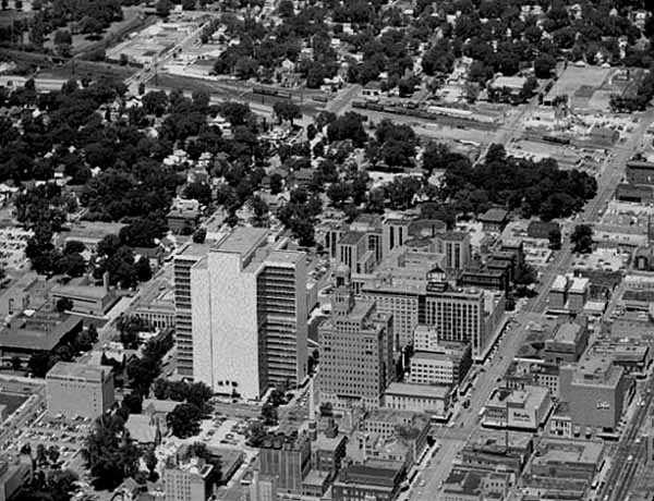 Aerial view, Mayo Clinic and surrounding area, Rochester