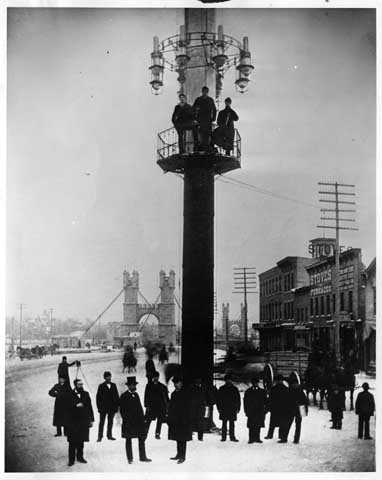 Old lighting tower at Bridge Square, Minneapolis