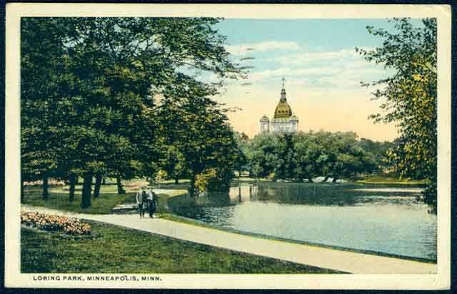 Loring Park with a view of St. Mary's Basilica, Minneapolis