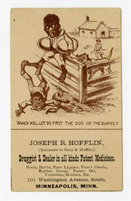 Business trade Card for Joseph R. Hofflin, Druggist and Dealer in Patent Medicines featuring the theft of a watermelon, Minneapolis, Minnesota. Created between 1880 and 1910.