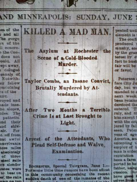 Headline of a June 2, 1889 St. Paul Pioneer Press story describing Taylor Combs's killing.