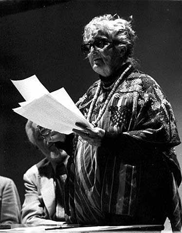 Black and white photograph of Meridel Le Sueur, c.1975.