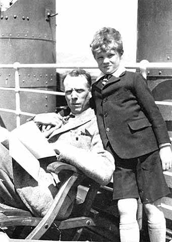 Black and white photograph of Sinclair Lewis and his son Wells, ca. 1925.