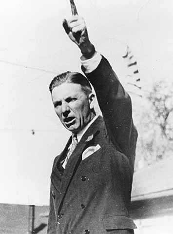 Black and white photograph of Floyd Olson giving a speech, c.1932.