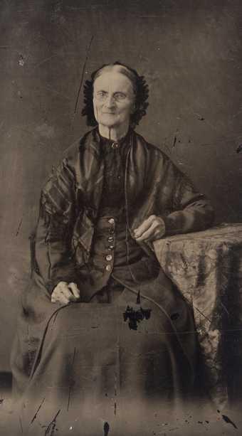 Black and white tintype photograph of Elizabeth Ayer, c.1880.