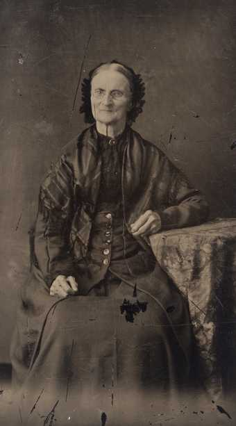 Black and white tintype photograph of Elizabeth Ayer, c.1880.
