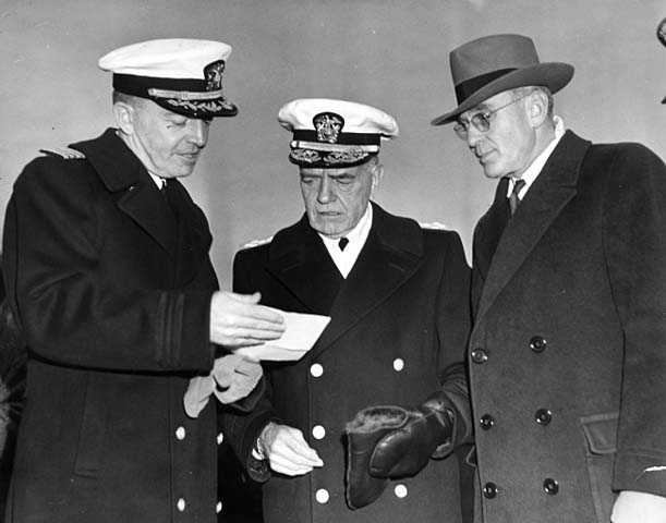 Black and white photograph of William Frederick Hasley with Harold E. Stassen and Edward J. Thye, 1945.