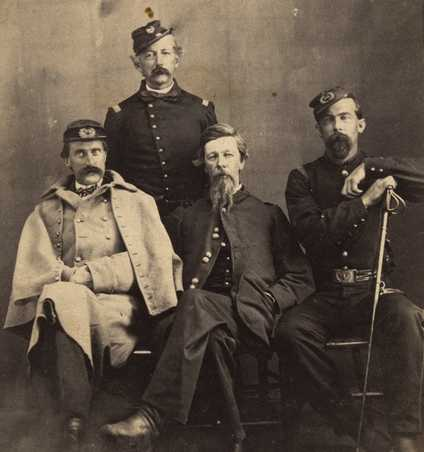 Black and white photograph of General Alfred H. Sully (center) with (L to R) John H. Pell, Andrew J. Levering, and Josias R. King, c. 1862.