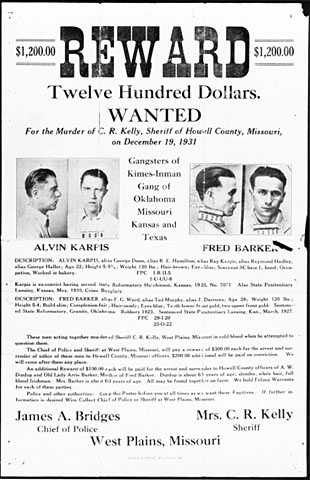Black and white scan of a reward poster for Alvin Karpis and Fred Barker, c.1936.