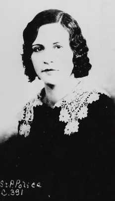"Black and white photograph of Evelyn ""Billie"" Frechette. John Dillinger's girlfriend, 1934. Photographed by the Bureau of Criminal Apprehension."