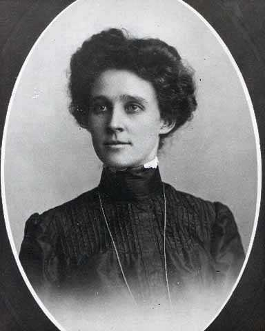 Black and white portrait of Mary Gibbs, commissioner of Itasca State Park and the first woman in the U.S. to hold the position of park commissioner, 1903.