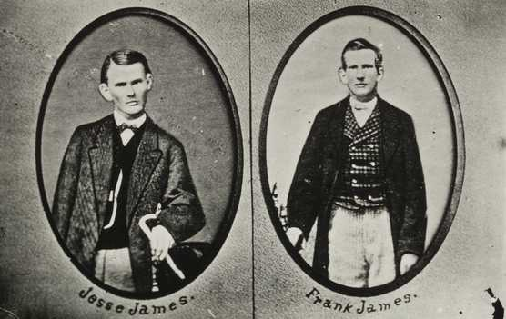 Black and white photographs of Jesse (left) and Frank James (right), c.1863.