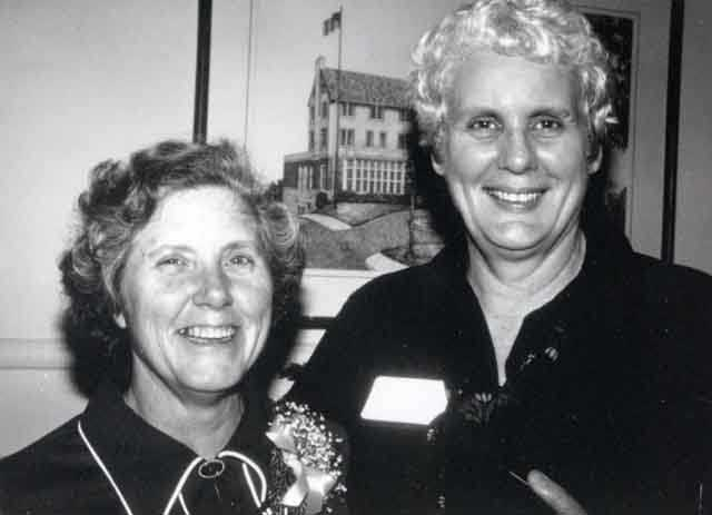 Black and white photograph of Rosalie Wahl (left) and Mary Peek (right),1977.