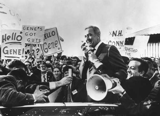 Black and white photograph of Eugene McCarthy during presidential primary campaign in New Haven, Connecticut, 1968.