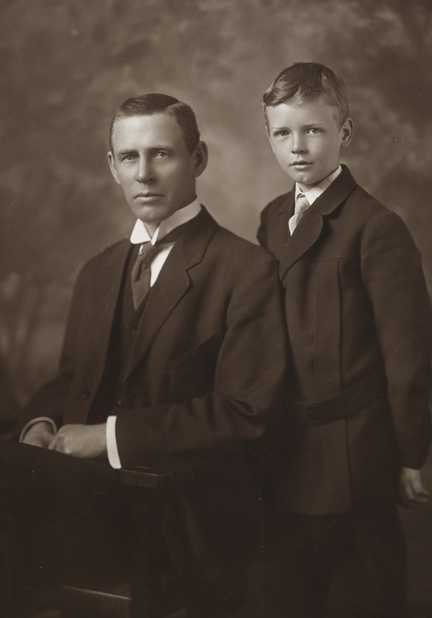 Black and white photograph of Charles August Lindbergh with his son Charles Augustus Lindbergh, c.1910.