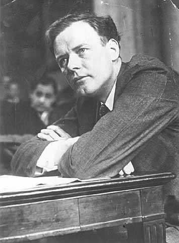 Black and white photograph of Charles Augustus Lindbergh testifying at the Air Mail Hearing before the Senate Post Office Committee, March 16, 1934.