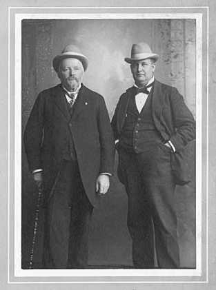 James Madison Bowler (with cane) and Leonard A. Rosing, c.1900.