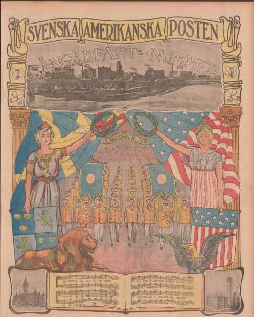 """A color page of Svenska Amerikanska Posten from the """"Sångarfäst=Nummer"""" edition from July 21, 1903."""