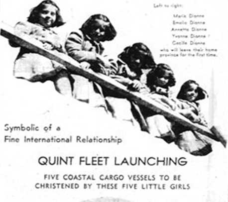 """A newspaper ad for the """"Quint Fleet"""" launching of five boats into the Twin Ports. Used with the permission of the National World War II Museum."""
