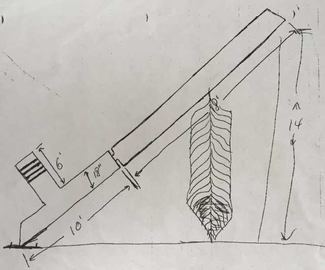 Scale drawing of the world's largest peace pipe, c. 1998.