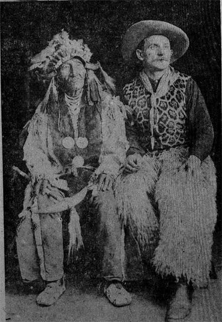 Black and white photograph of Count Rovigno (right) with an unidentified man, probably a participant in Buffalo Bill Cody's Wild West Show.