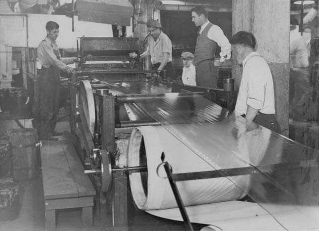 photograph depicting factory production of cellulose tape at 3M around 1931