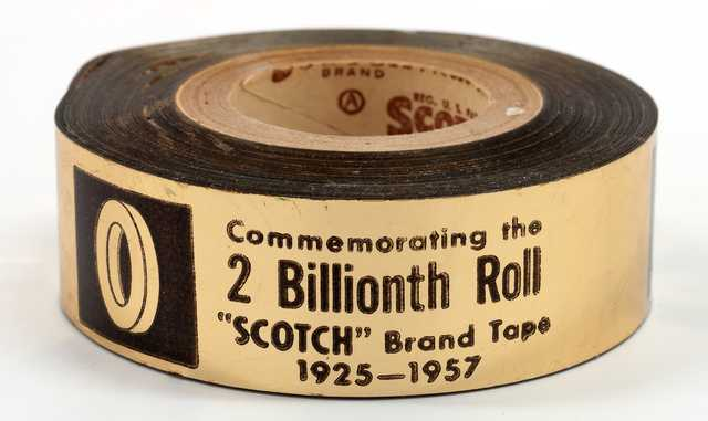 photograph of the commemorative 2 billionth roll of Scotch-brand tape
