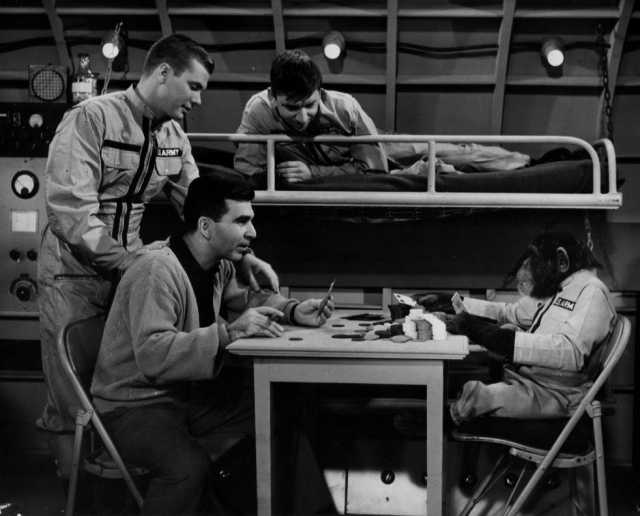 Max Shulman (seated) on the set of The Many Loves of Dobie Gillis, with Dwayne Hickman (left) and Bob Denver (above), ca. 1960, courtesy of Martha Rose Shulman.
