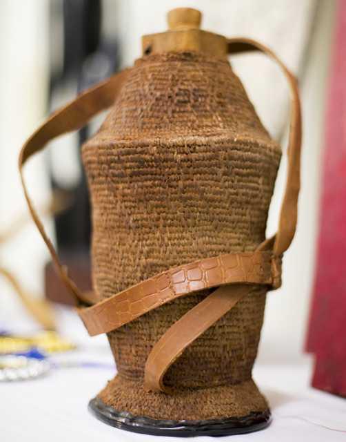 Photograph of a dhiil qaba ah (dee-l ka-ba ɑh; woven milk vessel)