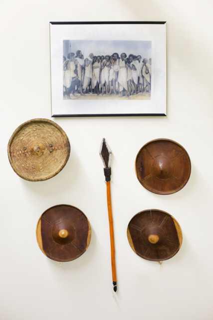 Photograph of gaashan (g-aa-sh-n; shields) and waran (wh-ran; spear)