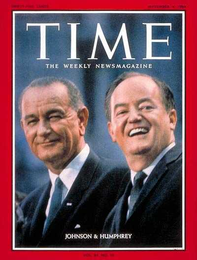 Color image of Vice Presidential nominee Hubert Humphrey with President Lyndon Johnson on the way to a landslide victory, 1964.