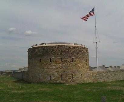 Color image of the restored Historic Fort Snelling. Round Tower, c.2008